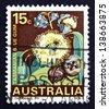 AUSTRALIA - CIRCA 1968: a stamp printed in the Australia shows Tasmanian Blue Gum, Tasmania, Eucalyptus Globulus, Evergreen Tree, circa 1968 - stock photo