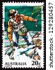 AUSTRALIA - CIRCA 1979: a stamp printed in the Australia shows Trout Fishing, Sport Fishing, circa 1979 - stock photo