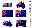 Australia flag and map in different styles in different textures - stock photo