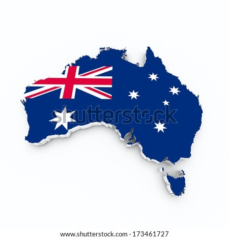 Australia flag on 3d map