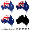 Australia flag over map collage - stock vector