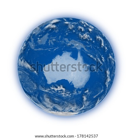 Australia on blue planet Earth isolated on white background. Highly detailed planet surface. Elements of this image furnished by NASA.