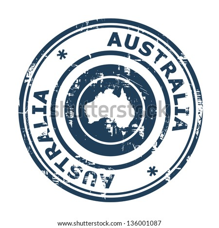 Australia passport stamp isolated on a white background.