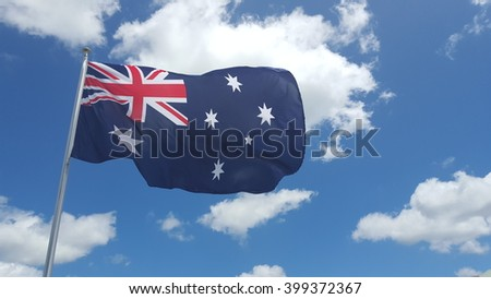 Australian flag on blue sky background