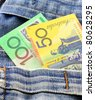 australian money in jeans pocket - stock photo