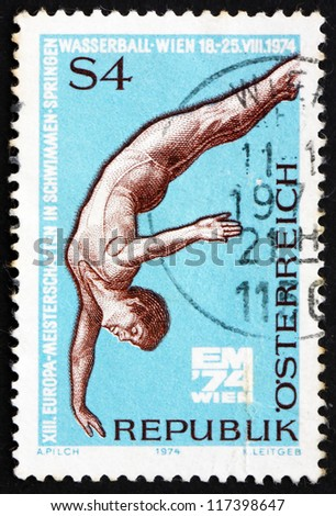 AUSTRIA - CIRCA 1974: a stamp printed in the Austria shows Diver, 13th European Swimming, Diving and Water Polo Championships, Vienna, circa 1974