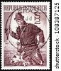 AUSTRIA - CIRCA 1971: a stamp printed in the Austria shows Trout Fisherman, circa 1971 - stock photo