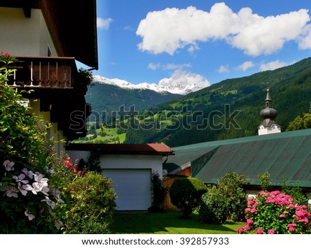 Austrian Alps-outlook from Aschau of the snow-capped Alps