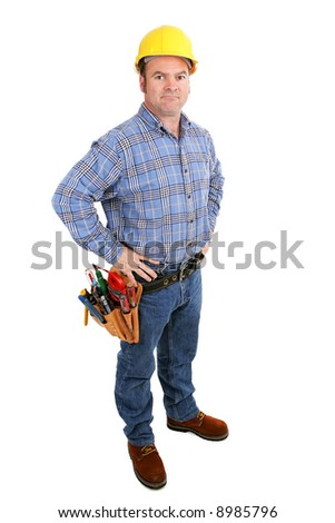 Authentic construction worker with serious expression.  Full body isolated on white.