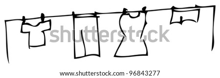 authentic looking child's drawing of a washing line