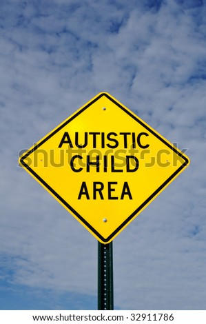 Autistic Child Area Sign, Sky, Clouds, Copy Space