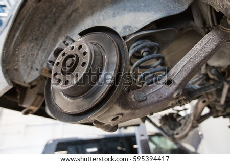 Car Steering Suspension Maintenance Auto Service Stock Photo