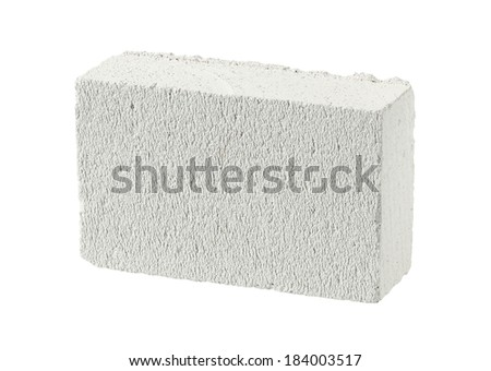 Autoclaved aerated concrete block (foamed lightweight concrete) isolated on white background