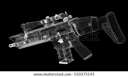 Automatic gun on background, body structure, wire model. 3D rendering