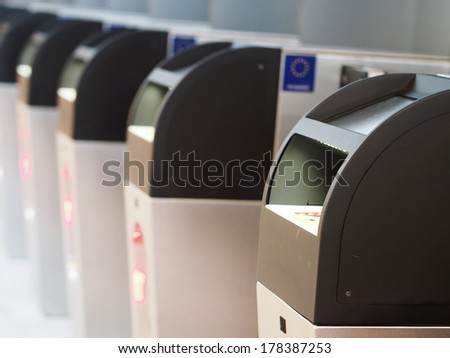 Automatic passport control machines at the airport