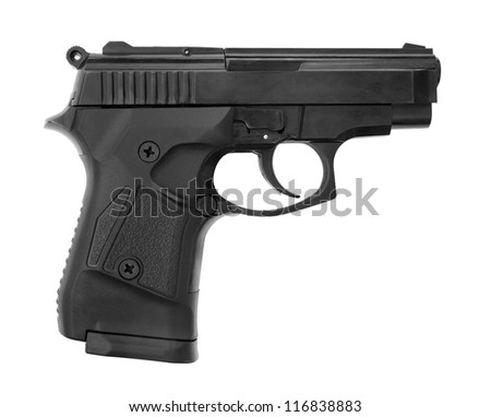 Automatic pistol isolated over white background