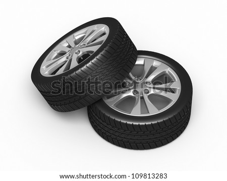 Automobile Tires and wheels render (isolated on white and clipping path)