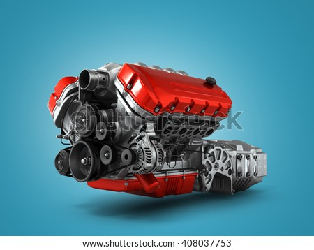 automotive engine gearbox assembly is isolated on a white background 3d render