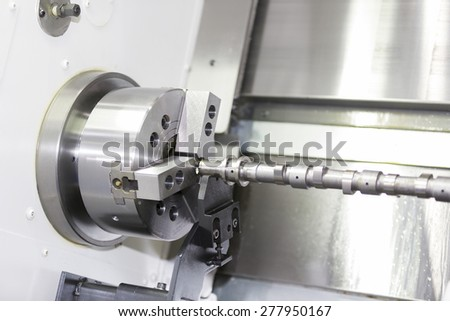 automotive industrial metal work machining process by cutting tool on 