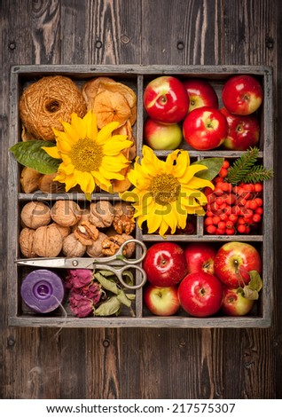 Autumn composition in wooden box. Apples, nuts, flowers sunflower