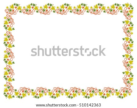 Autumn horizontal frame with colorful maple leaves. Raster clip art.