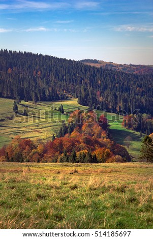Autumn in Pieniny mountains. View from Beskid Sadecki nearby Rozdziela Pass.