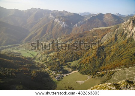 Autumn landscape in  mountains of Europe Peaks in Spain