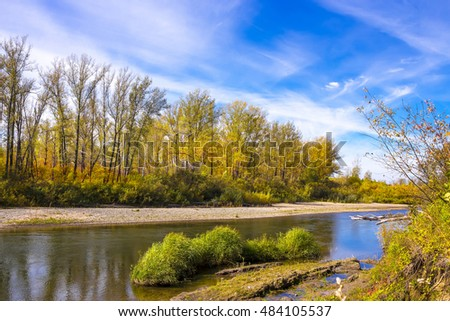 Autumn landscape with view of the river. The river Berd, Iskitim district, Novosibirsk oblast, Siberia, Russia
