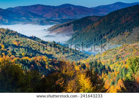 Autumn mountain landscape in the highlands in the Carpathians