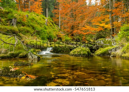 Autumn nature, colorful, river, water, waterfall, Jizerske hory, Czech republic, north Bohemia, Cerna Desna, waterdam Sous,