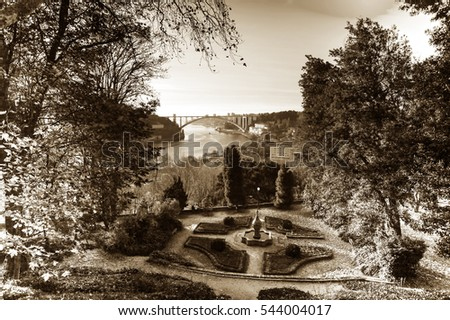 Autumn Park in Portugal. The view of the Douro river.Black and white photography.