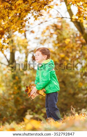 Autumn portrait of cute boy in nature (shallow DOF)