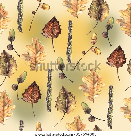 Autumn watercolor decorative pattern. Hand painting. Watercolor. Seamless pattern for fabric, paper and other printing and web projects.
