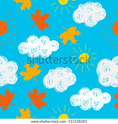 Autumn weather time theme. funny seamless patten background for use in design. Raster copy