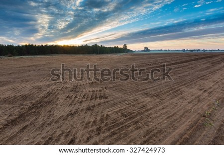 Autumnal plowed field landscape. Morning landscape of polish countryside with plowed field on foreground.