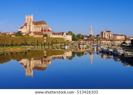 Auxerre, cathedral and Yonne river, Burgundy