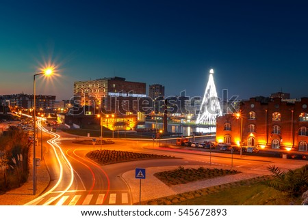 Aveiro city in Christmas time by night in Portugal