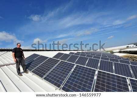 AVIGDOR, ISR - JAN 28:Solar panels installed on a roof on Jan 28 2011.Israeli engineers are at the cutting edge of solar energy technology and its solar companies work on projects around the world.
