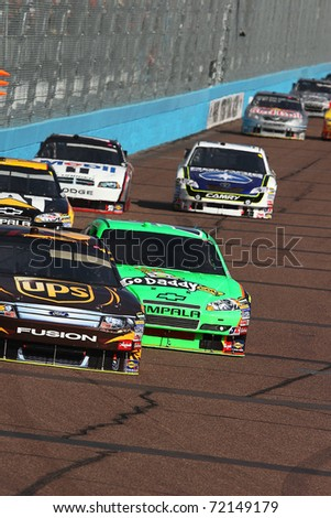 AVONDALE, AZ - NOV 14: David Ragan (6) and Mark Martin (5) fight for position during the Kobalt Tools 500 race on Nov 14, 2010 at the Phoenix International Raceway in Avondale, AZ.