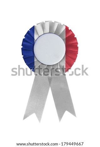 Award ribbon isolated on a white background, France