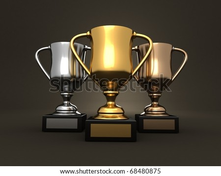 Awards - 3d rendered image of three trophies, gold, a silver and a bronze on a dark studio background