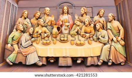 AYUTTHAYA-THAILAND- February 5: Sculpture wood carving of Last supper of Jesus in the Catholic church at St. Joseph Catholic Church on February 5, 2014 in Ayuthaya Province, Thailand.