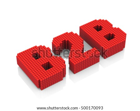 B2B business abbreviation with pixel effect on white background. 3D rendering