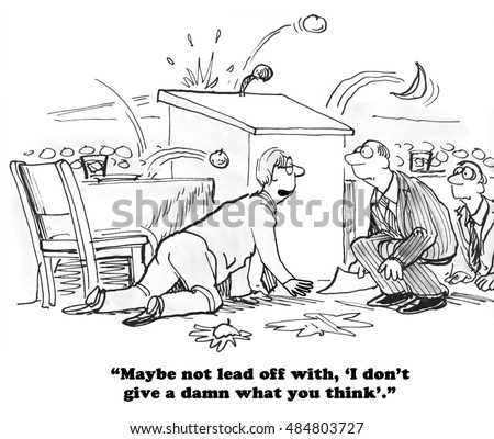 Business Cartoon About Audience Throwing Rotten Stock Illustration 425931670