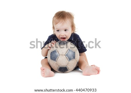 Baby boy playing with a soccer ball. Isolated on white background
