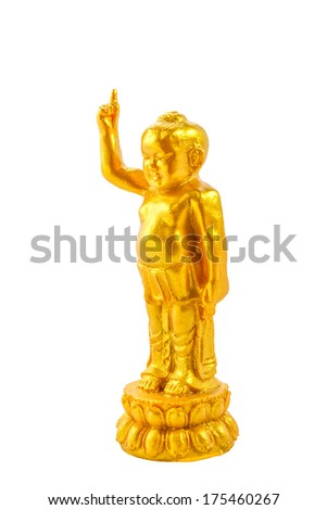 Baby buddha gold on white background