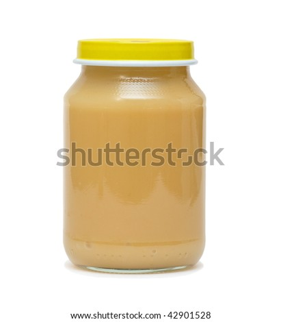 Baby food in glass can. Isolated.
