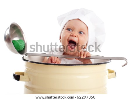 Baby in pan isolated on white