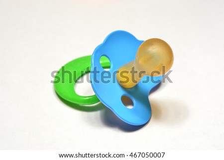 Baby pacifiers. Close-up of people do not.