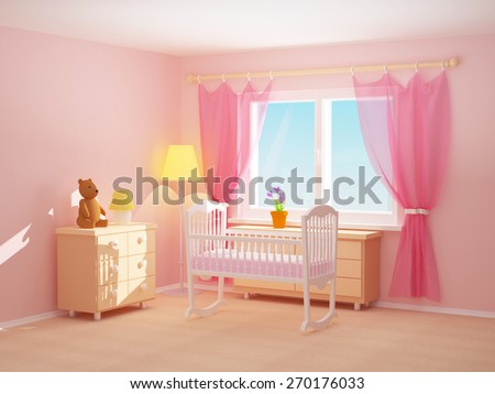 Baby s bedroom with cradle  commode and bear  Empty room  3d illustration. Babys Bedroom Commode Bear Pastel Colors Stock Photo 90906671